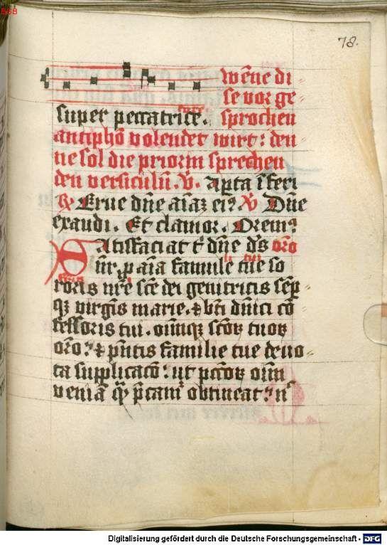 Rituale für Dominikanerinnen Nürnberg oder Altenhohenau, 2. Hälfte 15. Jh. Cgm 5244 Folio 78r
