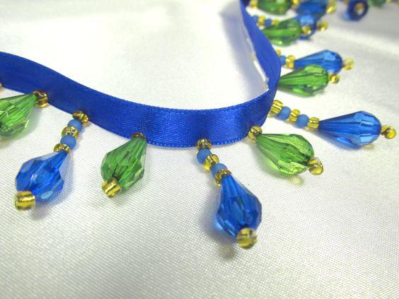 Peacock Blue and Green Short Beaded Fringe Trim