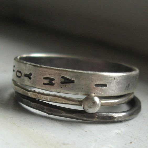 Sterling silver wedding set personalized stacking by tinahdee, $75.00