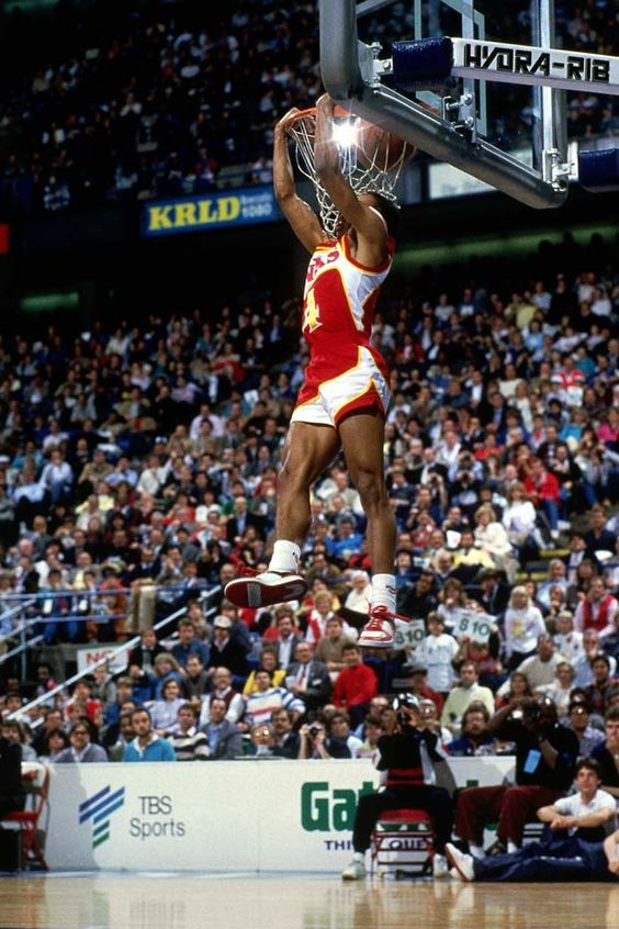 "5'7"" Spud Webb (Atlanta Hawks) - NBA Slam Dunk Contest - crazy hops he was the first small guy known for his leaping ability"