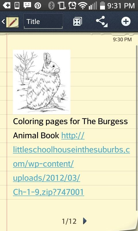 Coloring Pages For The Burgess Animal Book