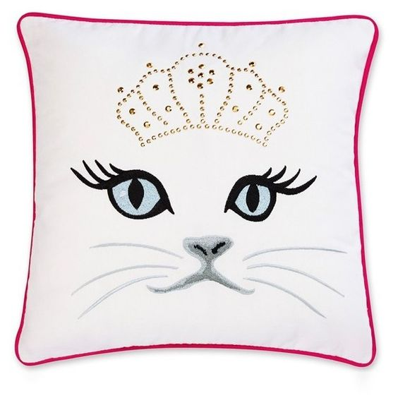 Betsey Johnson Bedding Polished Punk Cat Pillow ($32) ❤ liked on Polyvore featuring home, home decor, throw pillows, white, embroidered throw pillows, cotton throw pillows, white throw pillows, white toss pillows and cat throw pillow