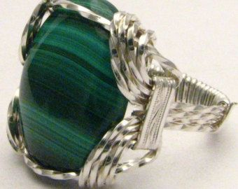 Handmade Sterling Silver Wire Wrap Malachite Ring