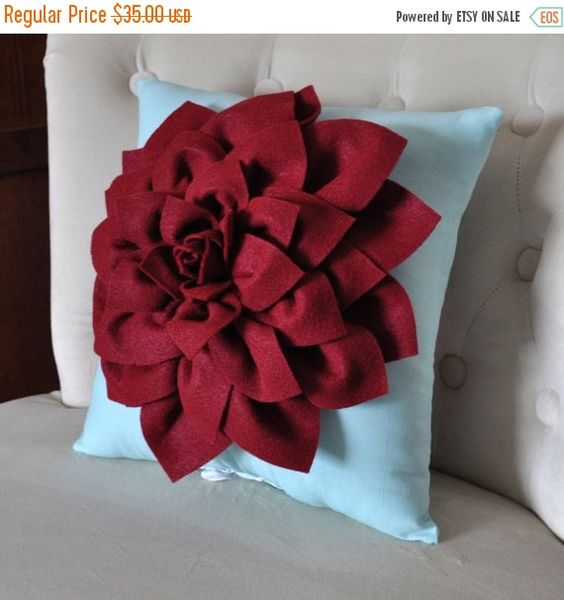 SALE Dahlia Felt Flower Decorative Pillow Ruby Red on by bedbuggs