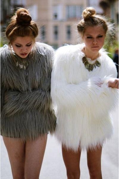 Grey and white faux fur coats | Fabulous Faux Fur Coats