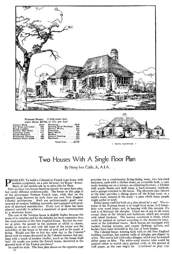 House plan and article by Henry Ives Cobb  Jr  for Good    House plan and article by Henry Ives Cobb  Jr  for Good Housekeeping  Cobb