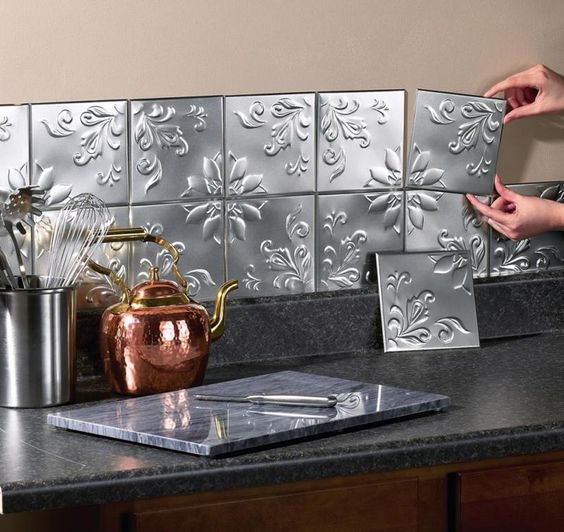 6 Kitchen Backsplash Ideas That Will Transform Your Space: 14 Pc Floral Embossed Silver Backsplash Tin Wall Tiles