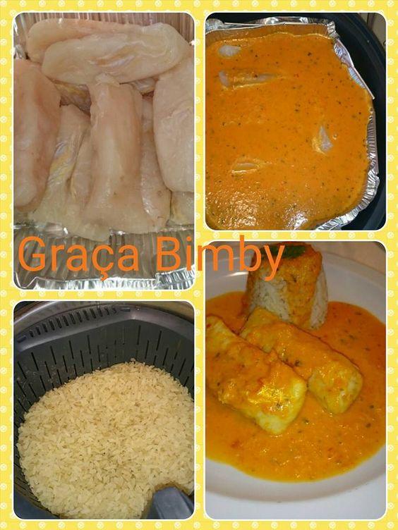 Moqueca de peixe a minha maneira. Cozinhar em pirâmide 2 em 1   Vamos fazer a moqueca e o arroz ao mesmo tempo :)        8 doses  Ingredien...