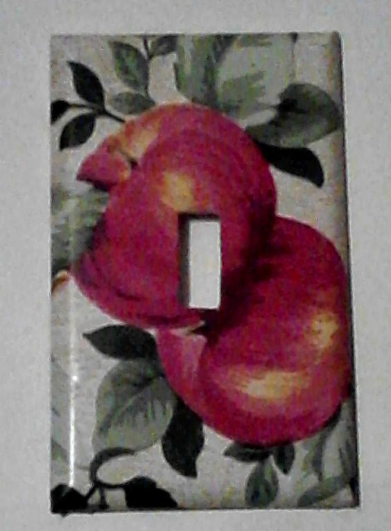 APPLE THEME Single Toggle Light Switch Plate Cover 4.75x2.75 Home Kitchen Decor  #HANDCRAFTED #SINGLELIGHTSWITCHCOVERSINGLETOGGLE