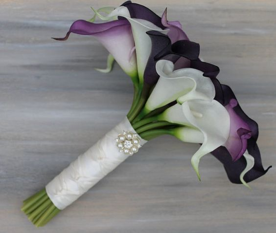 Wedding Bouquet Purple Calla Lily Bouquet Purple by MGFloralDesign