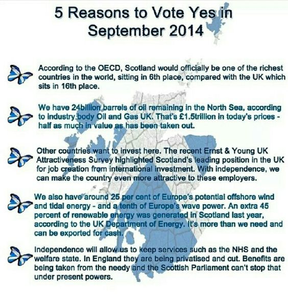 5 Good Reasons To Vote Yes To Scottish Independence Number 5 That S The Important One Scottish Independence Scotland Independence