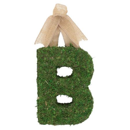 Add a personalized touch to your entryway or accent your mantel with this lovely letter decor, crafted of preserved moss and showcasing a burlap ribbon hange...