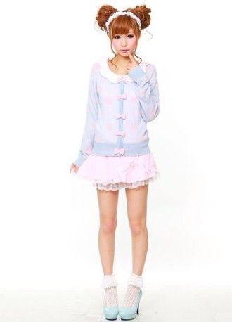 cardigan blue purple bows peter pan collar cute kawaii skirt