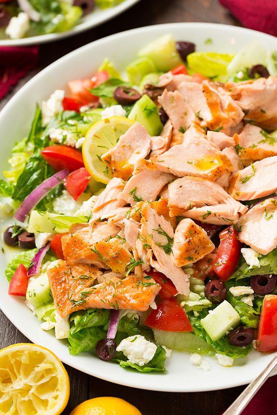 Greek Salmon Salad with Lemon Dill Vinaigrette   Cooking Classy