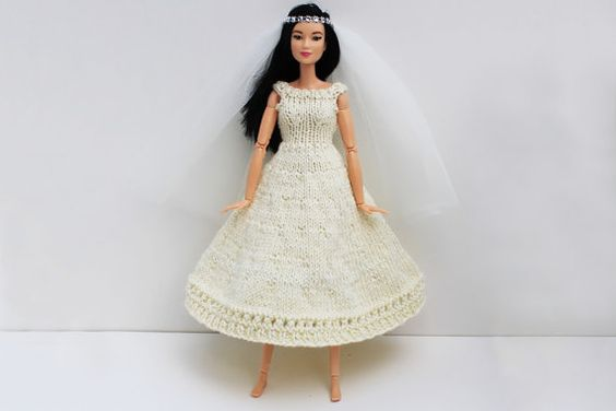 Handmade knitted Barbie bridal outfit  by DollFaceLondonShop
