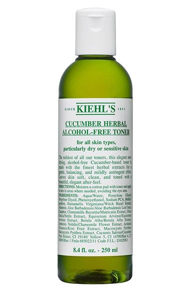 Free shipping and returns on Kiehl's Since 1851 Kiehl's Since 1851 Cucumber Herbal Alcohol-Free Toner at Nordstrom.com. This elegant nondrying, alcohol-free cucumber-based toner is made with the finest gentle herbal extracts for a gentle, natural soothing, balancing and mildly astringent effect. Leaves skin soft, clean, soothed and toned with a beautiful, elegant after-feel.