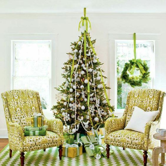 Shades of green Christmas Decor (Southern Living Magazine)