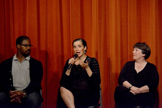 Actor Marcus Henderson and Director Patricia McGregor speak with moderator Marilyn Langbehn at the Inside Scoop for A Raisin in the Sun, opening May 21 at the Bruns Amphitheater in Orinda.  Photo by Jay Yamada.