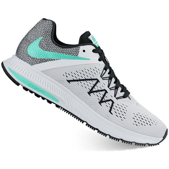 Nike Zoom Winflo 3 Women's Running Shoes ($88) ❤ liked on Polyvore featuring shoes, athletic shoes, natural, mesh shoes, traction shoes, lock shoes, nike footwear and breathable shoes