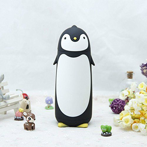 New Penguin Style Stainless Steel Thermos Vacuum Bottle Water Cup Travel Mug (Black)