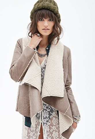 Draped Faux Shearling Jacket | FOREVER21 - 2000138023