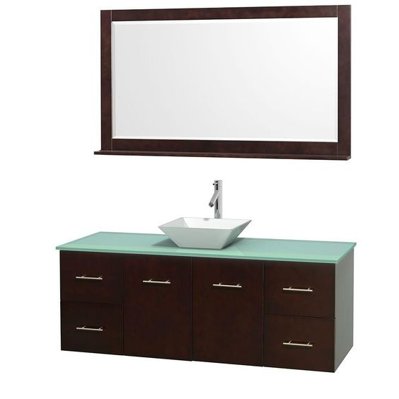 Wyndham Collection Centra 60 in. Vanity in Espresso with Glass Vanity Top in Green, Porcelain Sink and 58 in. Mirror