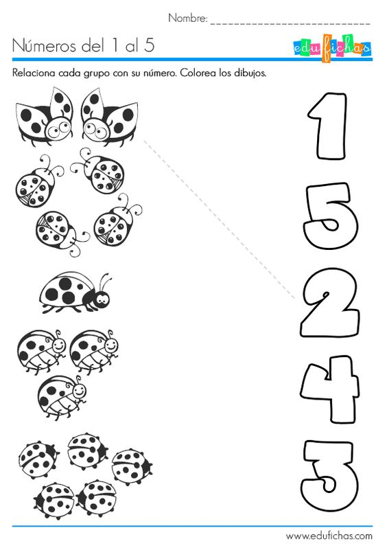 Aprender los n meros del 1 al 5 for Actividades para jardin de infantes para imprimir