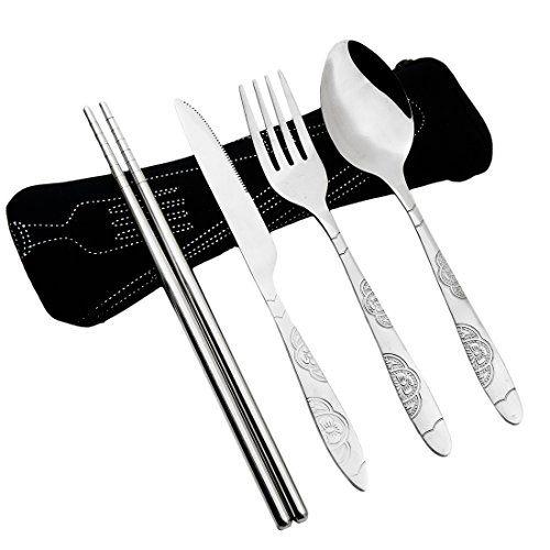 AckMond Camping Outdoor Utensils Cutlery Flatware Set of Military Grade Steel