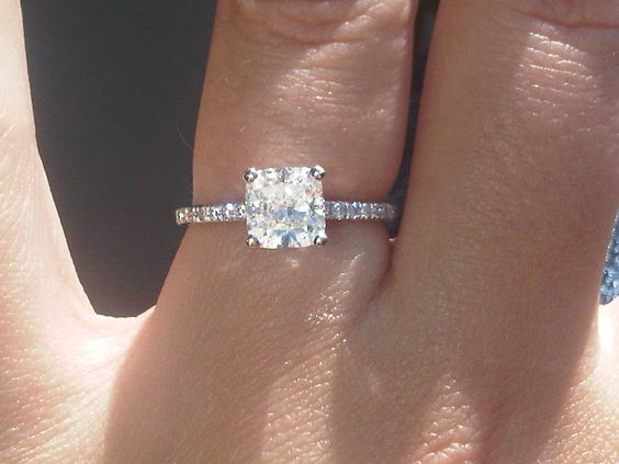 My Engagement Ring Cushion Cut with thin diamond band