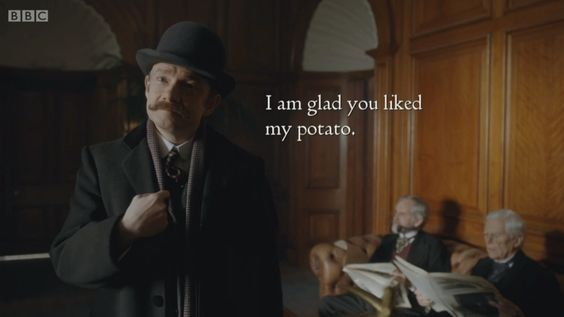 HEARING DOGS (January 4, 2016) ~ How Benedict Cumberbatch (Sherlock Holmes) and Martin Freeman( John Watson) learned sign language for SHERLOCK(BBC) pre-Season 4 special THE ABOMINABLE BRIDE scene. [Click for article]