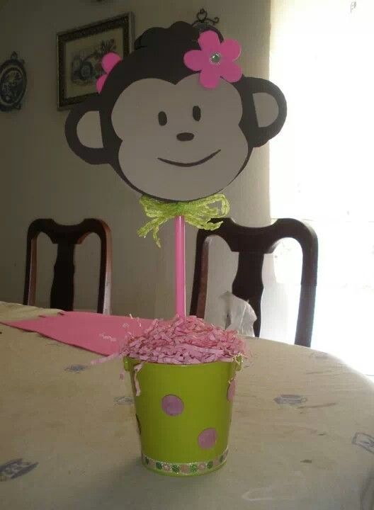Girl monkey centerpiece birthday things i made