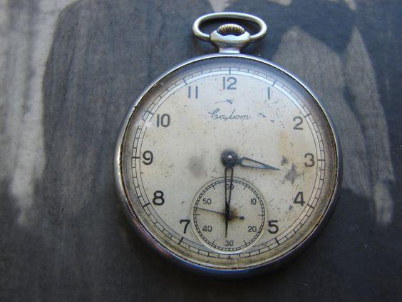 RARE Vintage Soviet Union Pocket watch SALUT  USSR by Tiktaktuk, $47.00