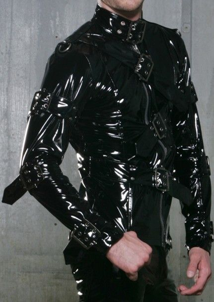 details about lip service mens black pvc jacket