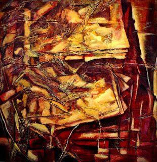 Classic Paintings by Raji Chacko: Window to the backyard..Abstract Mixed Media