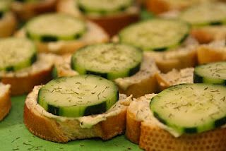 Party slices!  1 (8 oz) pkg cream cheese, softened  1 (.7 oz) pkg dry Italian-style salad dressing mix  1/2 c. mayo  1-2 French baguette, cut into 1/2 inch thick circles  1-2 cucumber, sliced  dried dill weed or oregano  http://busybliss.blogspot.com/p/recipes.html