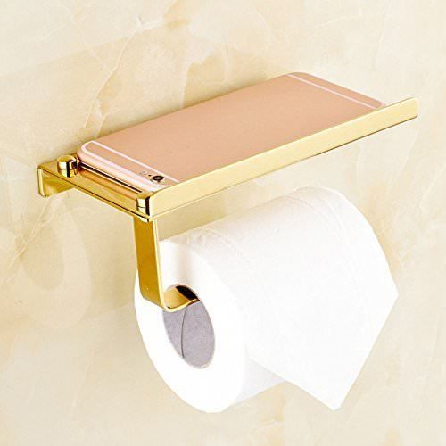 Gold Toilet Paper Holder Wall Mount Storage Shelf Rack Roll Dispenser Bathroom Toilet Paper Holder Wall Mount Toilet Paper Holder Toilet Paper Storage