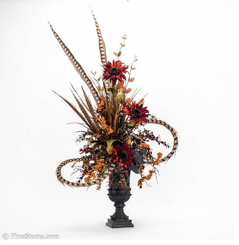 Feathers the o 39 jays and floral arrangements on pinterest for Fall fake flower arrangement ideas