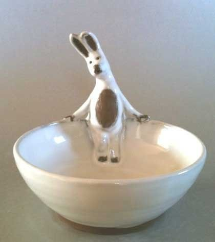Bunny  Wabbit  Bowl- White - Animals In My Soup - bowl series - kid's best friend at the dinner table by Miranda Gould on Etsy: