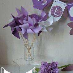 10 moulins à vent parme violet blanc mariage baptême photobooth