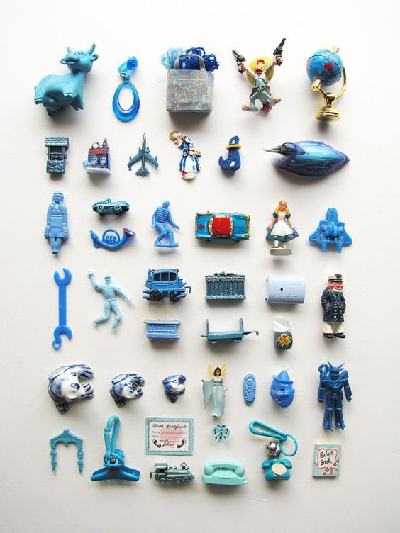 Collection of blue toys