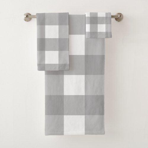 Gray And White Buffalo Check Bath Towel Set Zazzle Com Bath