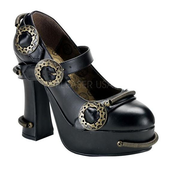 Wish   Demonia - Demon 29 - Steampunk Mary Jane Shoes - Black