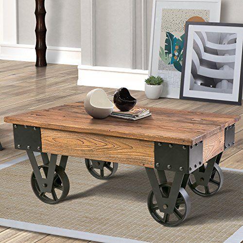 Wood Coffee Metal Wheels End Table Living Room Set Rustic Brown Rustic Coffee Tables Living Room Table Coffee Table Wood Rustic coffee table with wheels
