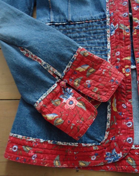 Vintage denim and floral folklore H&M jacket, size 12: