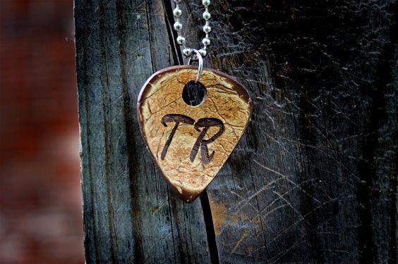Initials Custom Guitar Pick Keychain
