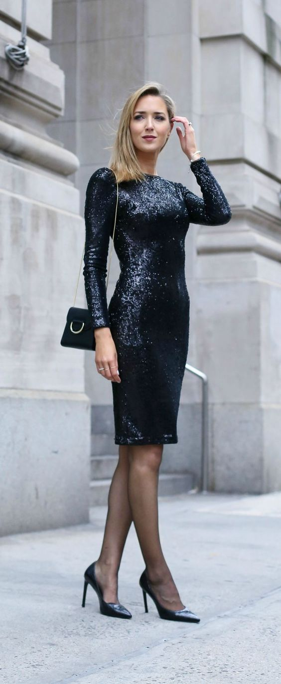 Long Sleeve Black Sequin Cocktail Dress Perfect For A