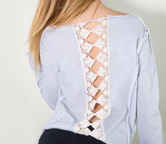Camisa con Tejido de Ganchillo en la espalda  por Thebululushop