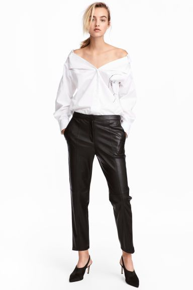 Pantaloni in finta pelle - Nero - DONNA ' H&M IT 1