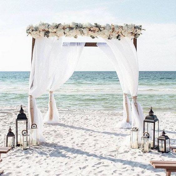 beach wedding alter ideas with lanterns  #wedding #weddingideas #beachwedding #beach