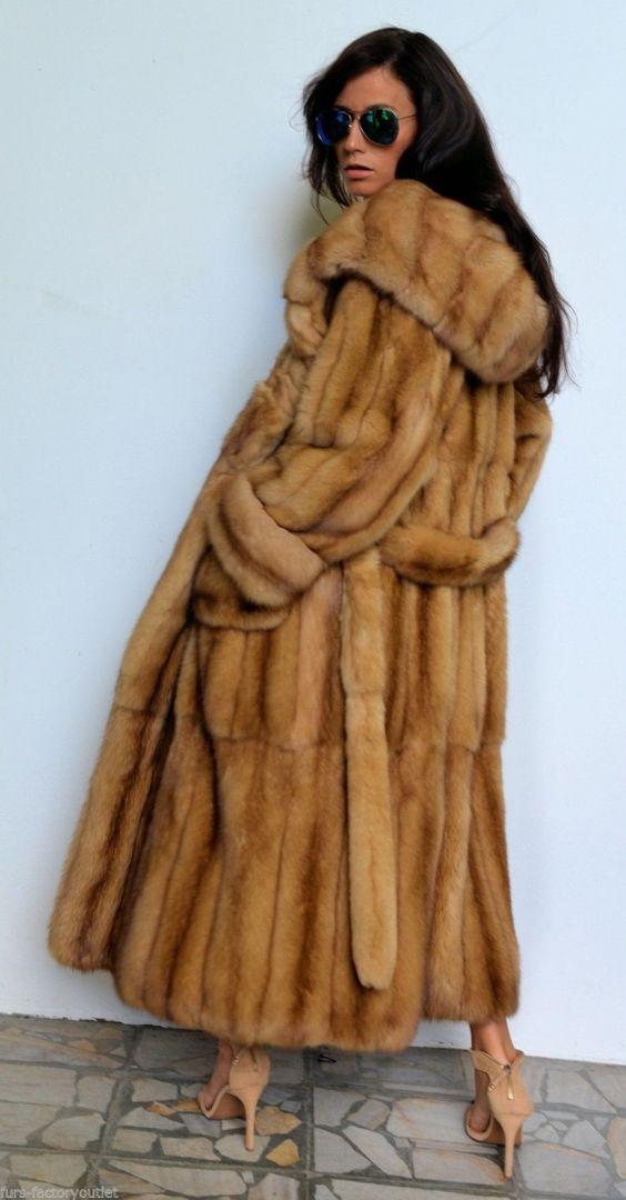sable furs - gold russian sable long fur coat with big hood | Fur